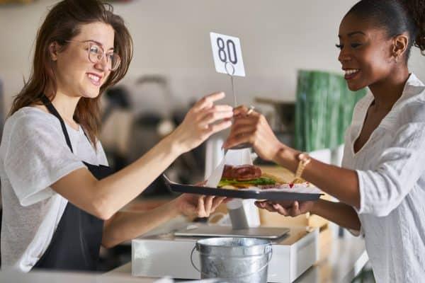 woman receiving her food order