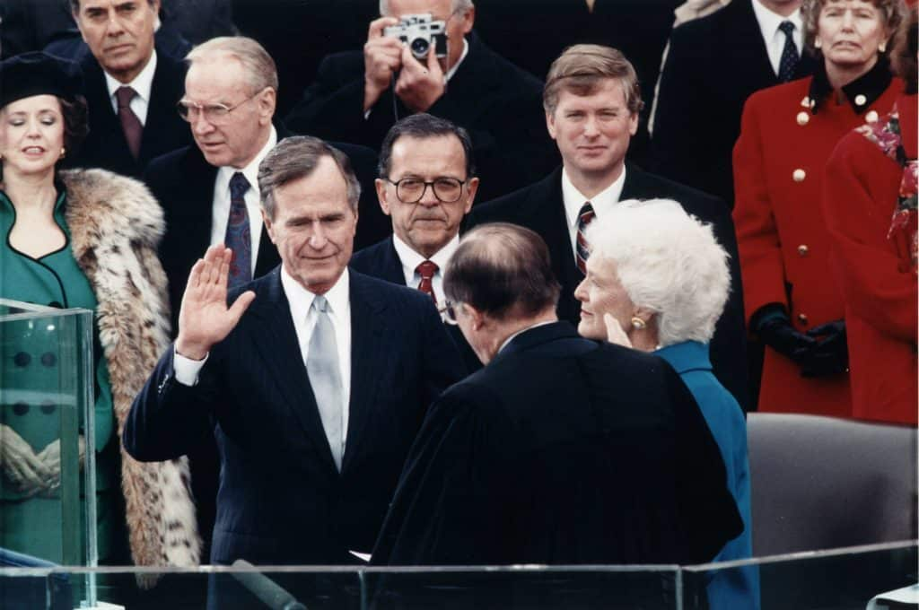 George H.W. Bush at his inauguration in 1989