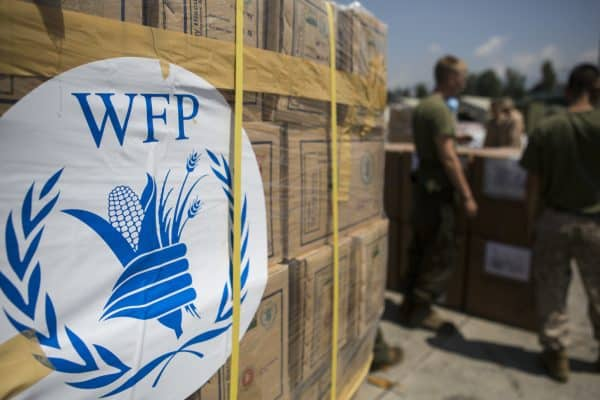 relief materials from the World Food Programme being prepared to be delivered to assist Nepal